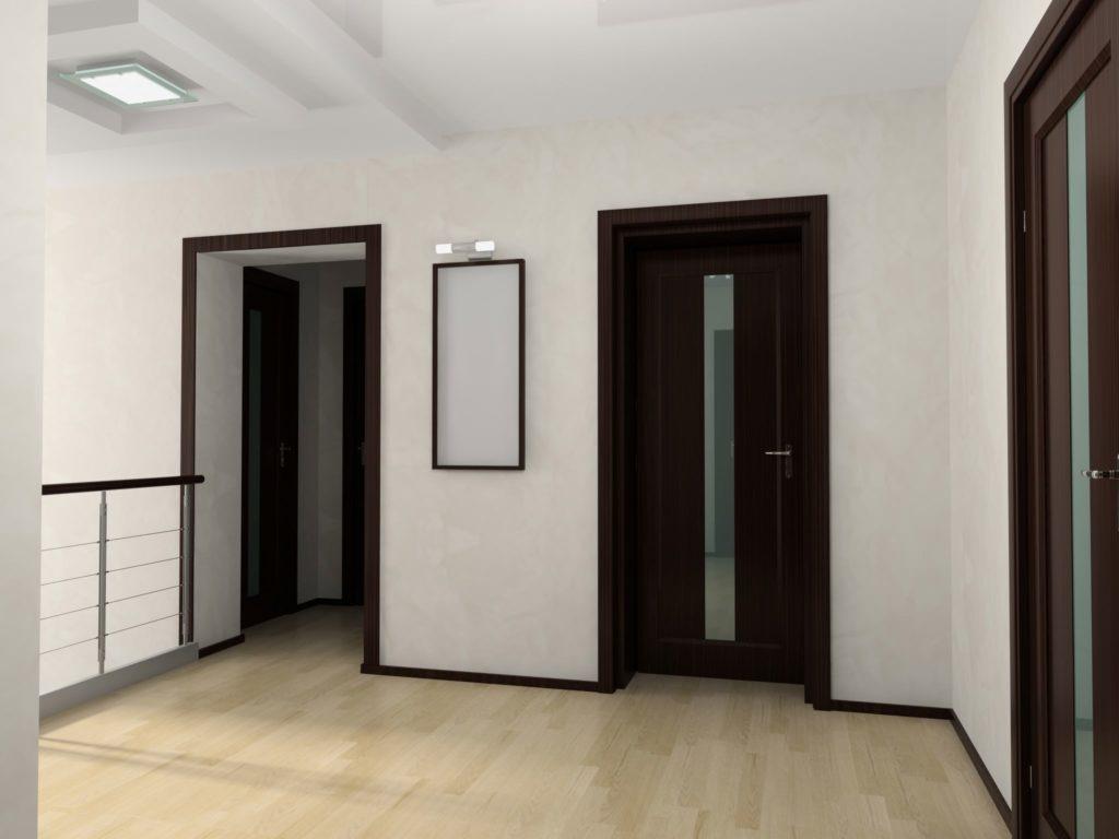 контрастные оттенки пол и дверь